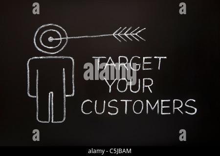 'Cible vos clients' concept faite avec craie blanche sur un tableau noir. Banque D'Images