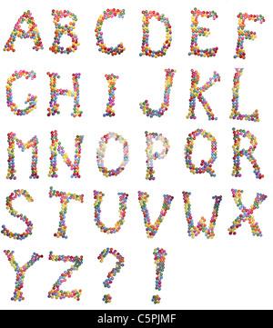Lettres de l'alphabet fait de candy isolated on white Banque D'Images