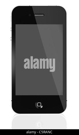Apple iPhone 4S - photo d'un iPhone noir 4e génération isolé sur un fond blanc avec une surface réfléchissante Banque D'Images