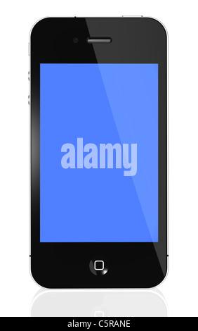 Apple iPhone 4S - Vue avant illustration d'un iPhone noir 4e génération isolé sur fond blanc avec reflective surface Banque D'Images