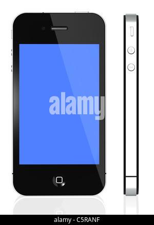 Apple iPhone 4S - Vues avant et latérale photo d'un iPhone noir 4e génération isolé sur fond blanc Banque D'Images