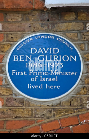 Greater London Council blue plaque marquant un accueil de David Ben Gourion, premier-premier ministre d'Israël, à Londres, en Angleterre