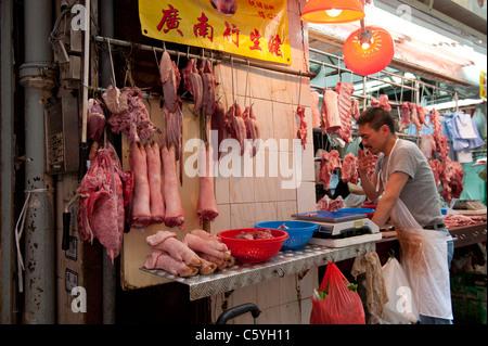 Les bouchers Shop sur gage Street à Central, Hong Kong, Chine Banque D'Images