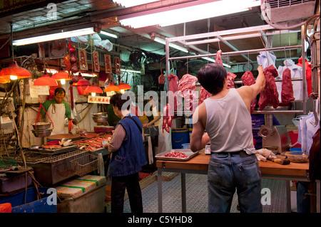 Marché de produits locaux et les bouchers Shop sur gage Street à Central, Hong Kong, Chine Banque D'Images