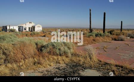 Ruines de la Pancho Barnes Happy Bottom Riding Club Rancho Oro Verde Fly-Inn dude ranch à Edwards AFB, CA Banque D'Images