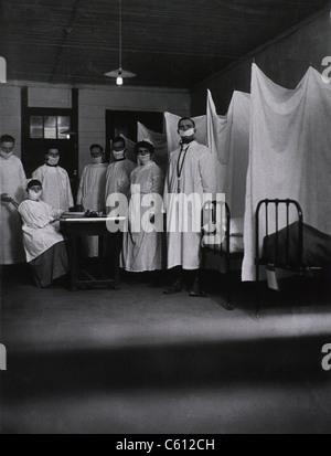 Une pneumonie Ward de l'hôpital de la base de l'Armée américaine à Toul, France au cours de l'épidémie de grippe Banque D'Images
