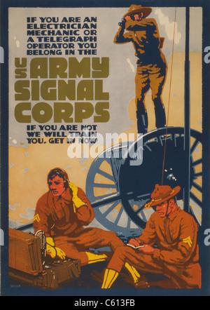 La Première Guerre mondiale pour l'affiche de recrutement d'électriciens, mécaniciens et les télégraphistes. U.S. Banque D'Images