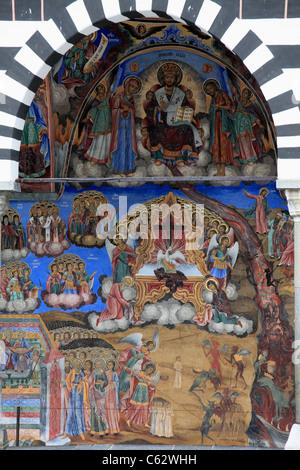 La Bulgarie, le Monastère de Rila, l'église de la Nativité, fresques, Banque D'Images