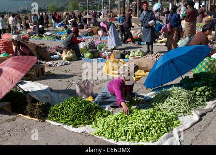 Marché alimentaire hebdomadaire du dimanche. paro. Bhoutan Banque D'Images