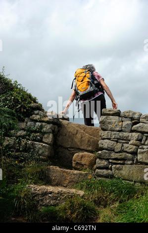 Rambler grimpe sur un stile sur le sentier du littoral à Llangefni, Anglesey, au nord du Pays de Galles. Banque D'Images