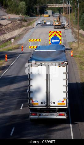 Travaux de l'autoroute , circulation détournée vers un chemin temporaire , Finlande