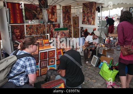Marché de l'art, st malo, Bretagne, France Banque D'Images