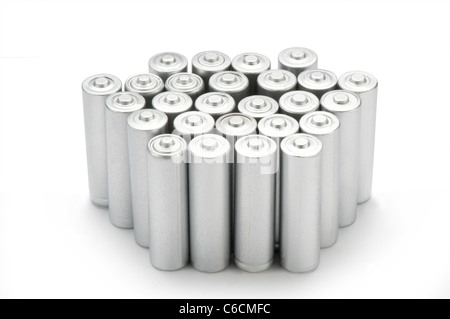 Un double batteries sur white Banque D'Images