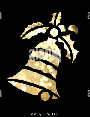 Christmas bell forme sur fond noir Banque D'Images