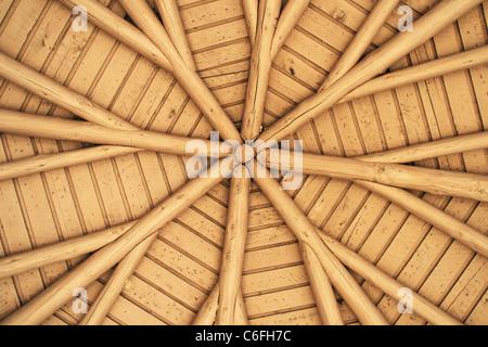 Visualiser jusqu'en toiture de véranda montrant poutres radiales Banque D'Images