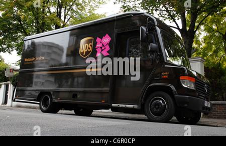 Un camion de livraison d'UPS à Londres, Angleterre, Royaume-Uni Banque D'Images