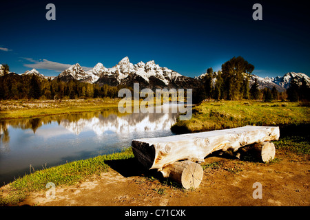 Grand Tetons à Jackson Hole Wyoming au lever du soleil. Banque D'Images