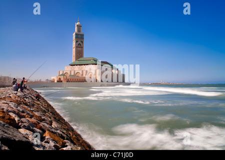 Mosquée Hassan II, la troisième plus grande mosquée du monde, Casablanca, Maroc, Afrique du Nord Banque D'Images