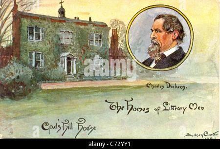 Photo Carte postale par artiste Sydney Carter de Charles Dickens dans les maisons de la série d'Œuvres littéraires Hommes