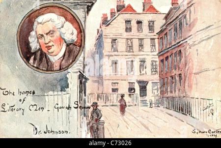 Photo Carte postale par artiste Sydney Carter de la maison de Samuel Johnson dans la série de maisons des hommes littéraires