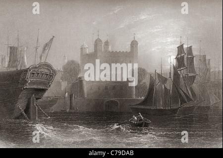 La Tour de Londres, Londres, Angleterre au début du 19e siècle Banque D'Images