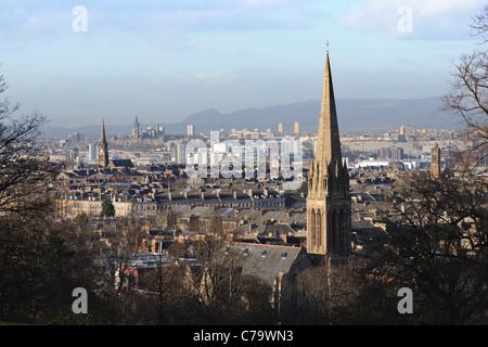 Vue nord de Queen's Park à l'Université de Glasgow sur les toits Banque D'Images