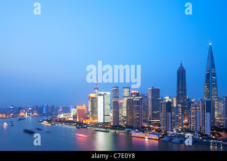 Au crépuscule de Pudong, Shanghai, Chine Banque D'Images