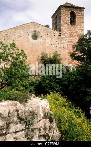 Église de Siurana, Serra del Montsant Priorat, Tarragona, Espagne Banque D'Images