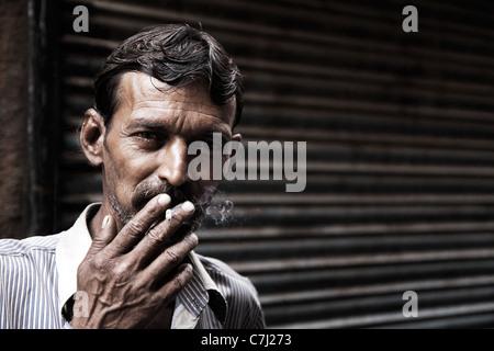Fumeur Rajasthani Banque D'Images