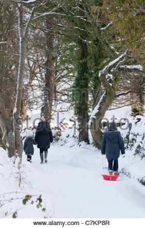 Une famille de trois personnes, marchant le long d'une bridleway couverte de neige. Banque D'Images