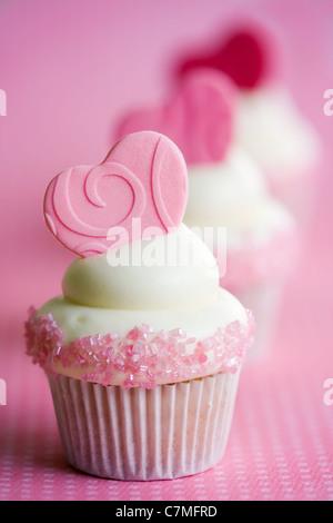 Cupcakes Valentine Banque D'Images