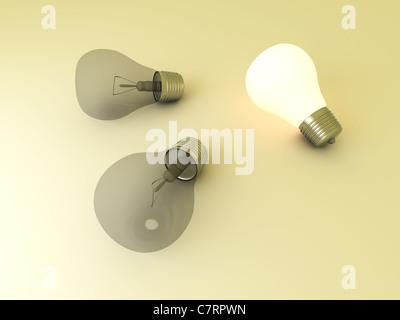 Lumière brillante et une lampe témoin entre autres. Banque D'Images