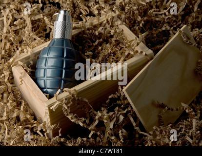 Grenade dans l'emballage. Banque D'Images