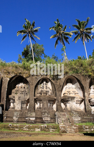 Gunung Kawi est un 11e siècle complexe de tombes royales, situé à Tampaksiring, près d'Ubud. Bali, Indonésie. Banque D'Images