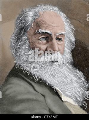 Walt Whitman (1819-1892). Le poète américain., essayiste et journaliste. Gravure en couleur du 19ème siècle. Banque D'Images