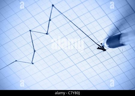 Dessin stylo graphique une crise. Shallow DOF! Banque D'Images