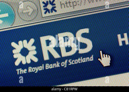 Royal Bank of Scotland RBS logo et un nouveau site web close up Banque D'Images
