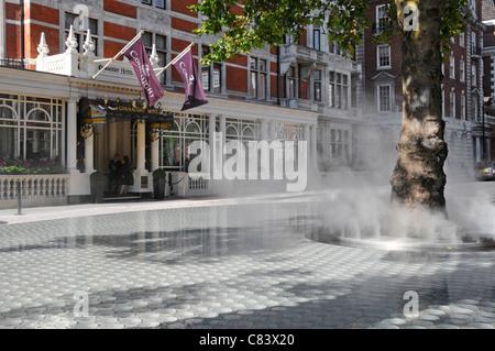 Scène de rue de la brume de vapeur sur un nuage de vapeur se «silence' dispositif de l'eau passant de tronc d'arbre Banque D'Images