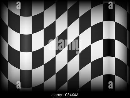 Arrière-plan en damier noir et blanc - Pavillon de course Banque D'Images