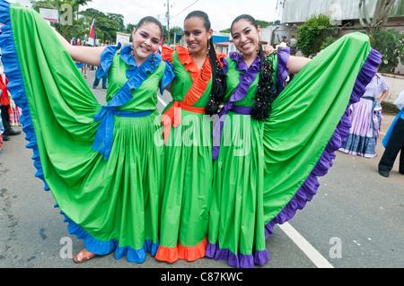 Costa Rica in vêtements traditionnels le jour de l'indépendance de la vallée centrale du Costa Rica Banque D'Images
