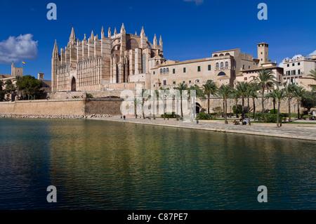 La cathédrale de Palma La Seu et Parc de la Mar centre historique de la ville vue à travers l'Espagne Baléares Majorque Banque D'Images
