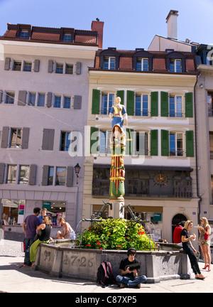 Fontaine de la Justice à la place de la Palud à Lausanne Banque D'Images