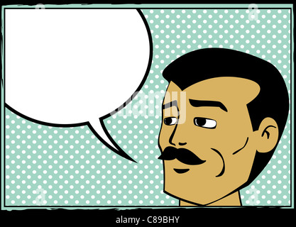 Pop art retro homme avec bulle, bandes dessinées graphique style Banque D'Images
