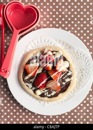 Mini Fraise et Chocolat sucré pizza Banque D'Images