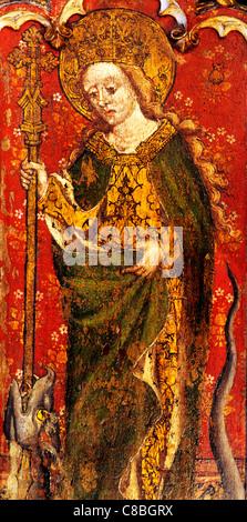 Filby, Norfolk, jubé, Sainte Marguerite d'Antioche avec crozier et dragon, femme saint saints English écrans médiévale Banque D'Images
