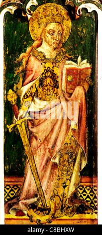 Filby, Norfolk, jubé, Sainte Catherine d'Alexandrie, épée, livre, roue femme saint saints English écrans médiévale Banque D'Images