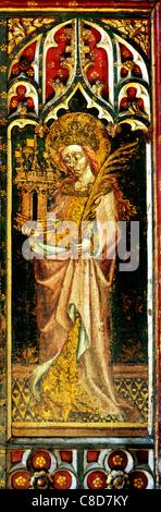 Filby, Norfolk, jubé. Saint Barbara avec tour du château et branche de palmier femme saint saints English écrans Banque D'Images