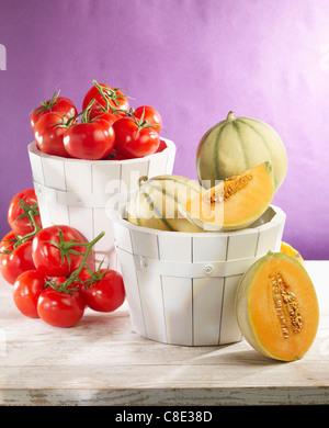 Les melons et les tomates Banque D'Images