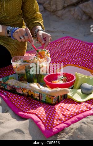 Le panais,ayant la carotte et salade de chaux sur la plage