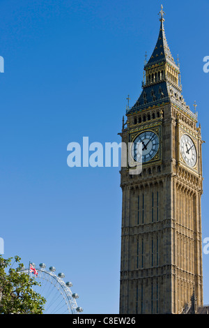 Big Ben et le London Eye. Banque D'Images
